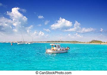 llaut white boat in Formentera Illetes near Ibiza Balearic...