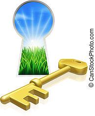 llave, a, libertad, concepto