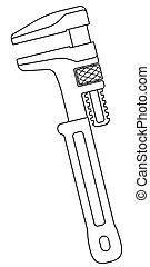 llave ajustable, ilustración, contorno
