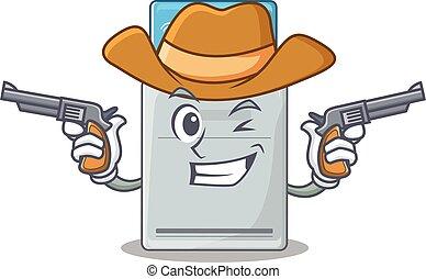 llave, armas de fuego, tarjeta, vestido, vaquero, teniendo