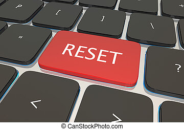 llave, botón, reiniciar, computadora, otra vez, ilustración, teclado, restablecer, 3d