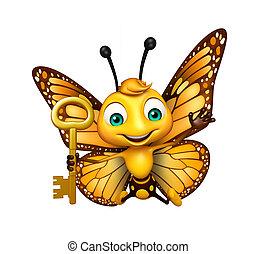 llave, carácter, diversión, mariposa, caricatura