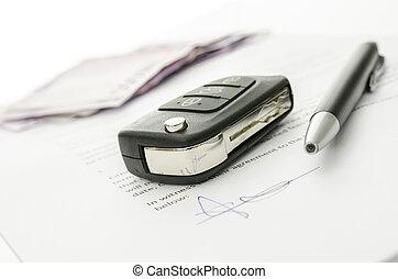 llave coche, en, un, contrato, de, coche, venta