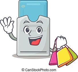 llave, compras, tarjeta, bolsa, ondulación, tenencia, feliz,...
