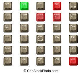llave computadora, en, un, teclado, con, carta, número, y,...