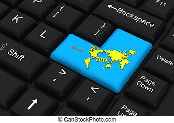 llave, computadora, mundo, 2011, mapa