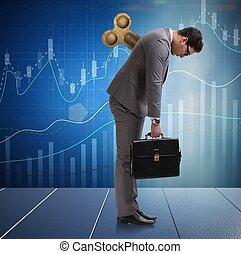 llave, concepto, hombre de negocios, trabajador