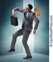 llave, concepto, trabajador, hombre de negocios