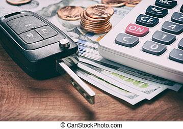 llave, de, el, coche, y, calculadora, en, dinero.