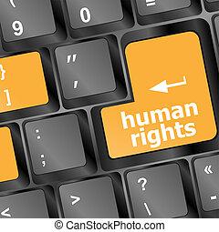 llave, derechos, botón, computadora computadora personal, humano, teclado