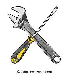 llave inglesa, amarillo, destornillador