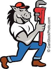 llave inglesa, caballo, plomero, arrodillar, caricatura