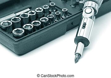 llave inglesa, conductor, kit, tornillo