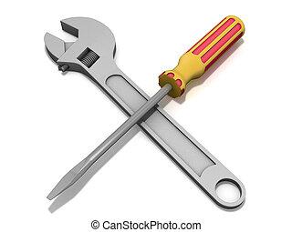 llave inglesa, destornillador