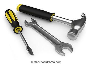 llave inglesa, martillo, destornillador