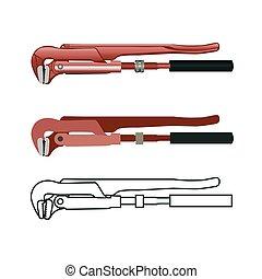 llave inglesa, realista, ilustración, tubo, vector
