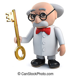 llave oro, carácter, tenencia, científico, enojado, 3d