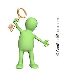 llave, oro, tenencia de la mano, títere, 3d
