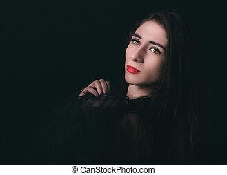 llave, retrato, bajo, hembra