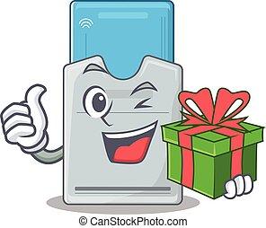 llave, smiley, tarjeta, caja, carácter, regalo