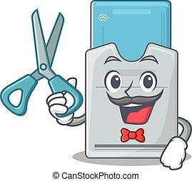 llave, smiley, tarjeta, carácter, peluquero, estilo,...