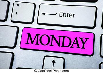 llave, texto, semana, espalda, señal, cima, monday., blanco...