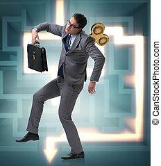 llave, trabajador, concepto, hombre de negocios