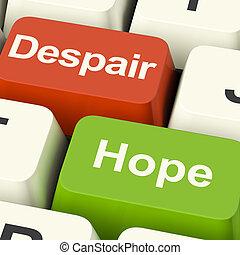 llaves, actuación, esperanzado, computadora, desesperado, desesperación, o, esperanza