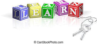 llaves, alfabeto, aprender, bloques, unido