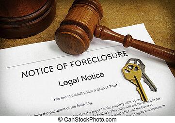 llaves, casa, documento, martillo, ejecución hipoteca
