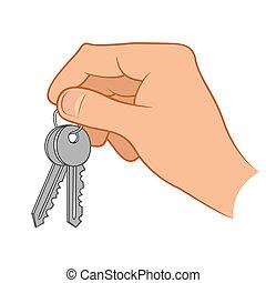 llaves, casa, llevar a cabo la mano