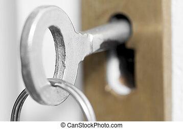 llaves, casa, lock., puerta