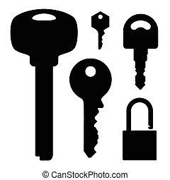 llaves, cerradura, conjunto, ilustración, acción