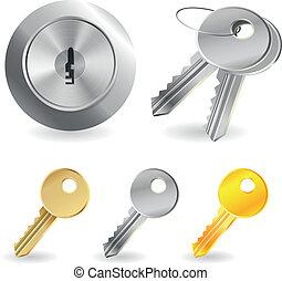 llaves, cerradura, conjunto, vector