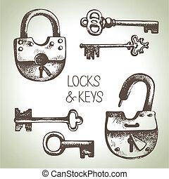 llaves, cerraduras, conjunto, dibujado, mano