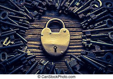 llaves, cerraduras, primer plano, vendimia