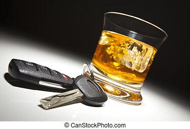 llaves, coche, bebida, alcohólico
