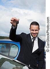 llaves, coche, feliz, tenencia, hombre