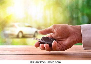 llaves, coche, manos, madera, naturaleza