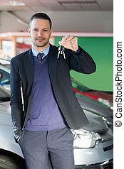llaves, coche, tenencia, hombre