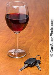 llaves, coche, vino, rojo, vidrio