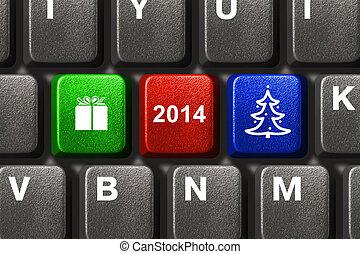 llaves, computadora, navidad, teclado