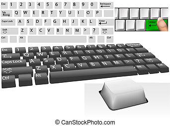 llaves, conjunto, computadora, elementos, teclado
