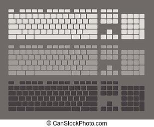 llaves, conjunto, teclado