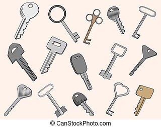 llaves, conjunto, vector, ilustración