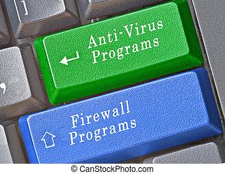 llaves, cortafuegos, anti- virus, programas