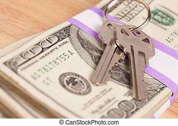 llaves, dinero, pila, casa