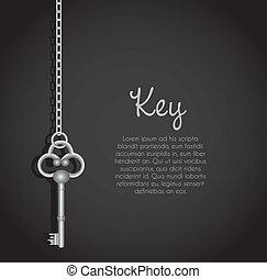 llaves, enlace, viejo, cadena