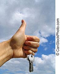llaves, -, felicidad