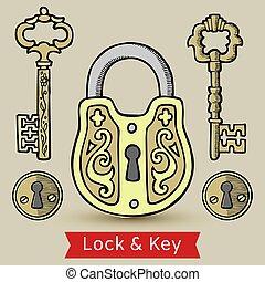 llaves, hogar, illustration., abierto, ojos de la cerradura,...